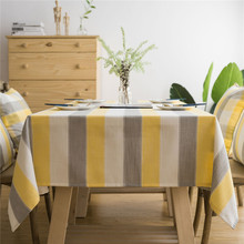 Modern Stripe Printed Tablecloth Cotton linen Rectangular Coffee Bar Restaurant Table Cloth Home Kitchen Decorative  Cover