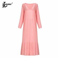 Lei SAGLY Fashion Women Bohemian Floor-length Vintage Dress Long Sleeve Loose Beach Summer Clothes For