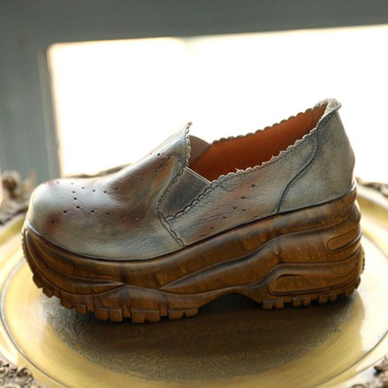 Início da primavera de moda de nova cabeça redonda de couro grosso das mulheres selvagens sapatos de cunha confortável com sapatos único. - 2