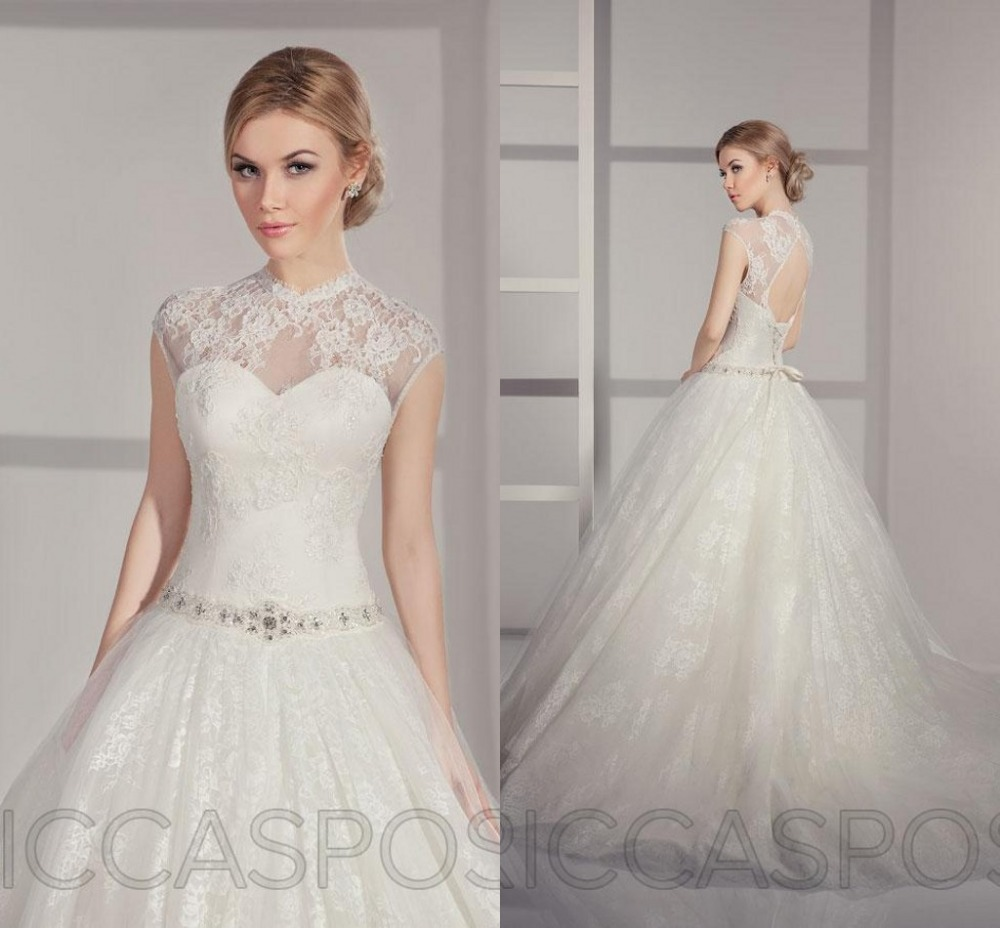 2015 Short Sleeve Ball Gown Lace Elegant Traditional High Neck