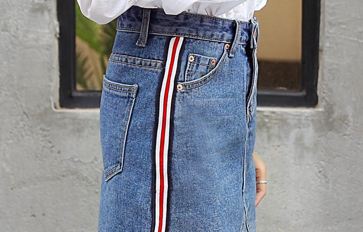 HTB10OwAQXXXXXcwXVXXq6xXFXXXH - Denim Skirts Striped Slim A Line High Waist Blue Jeans Skirt PTC 154