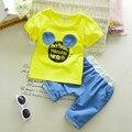 Newest 2017 Summer Baby Girls Boys Minnie Clothes Suits Cotton Infant Kids Suits Short Sleeves T Shirt+Pants Children Suits