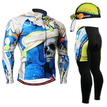 2017 bike gear men shirt long sleeve brand gel padded pants Top Quality Long Cycling Jerseys Set spring Bicycle Clothing Ropa