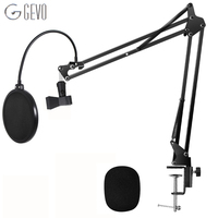 GEVO NB 35 Microphone Suspension Arm Stand Clip Holder Adjustable Metal Boom Scissor Arm And Pop Filter Windscreen For BM 800