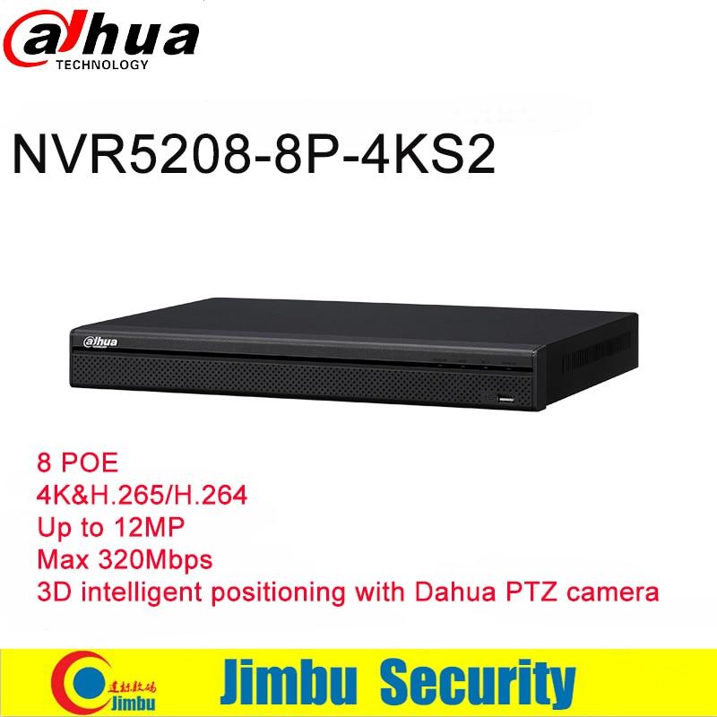 Dahua NVR 4K 8CH Video Recorder NVR5208 8P 4KS2 tripwire face detection 8 POE 4K H