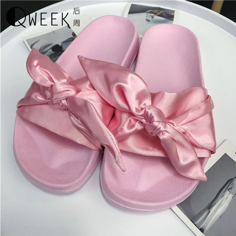 QWEEK Women Summer Slippers Slides Home Flip Flops Slippers Brand Indoor Casual Cute Bow Beach Comfortable Women Flats Shoes plush winter slippers indoor animal emoji furry house home with fur flip flops women fluffy rihanna slides fenty shoes