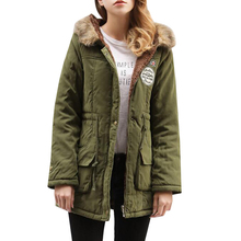 Women Parkas Jacket Autumn Winter Warm Hooded Cotton Padded Jackets Plus Size Outwear Female Fur Collar Long Coat Clothing SF461