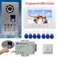 Rfid Клавиатура видеодомофон отпечатков пальцев домашнее видео домофон IP65 Водонепроницаемый CCD Камера Цвет монитор 7 видео дверной звонок ко