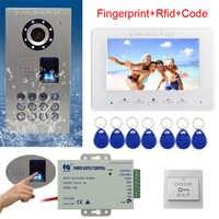 """Rfid キーボードビデオインターホン指紋ホームビデオドア電話 IP65 防水 CCD カメラカラーモニター 7 """"ビデオドアのベルキット"""