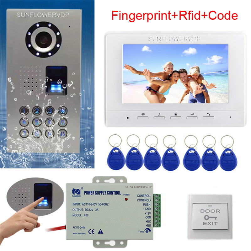 Rfid Keyboard Video Intercom Fingerprint Home Video Door Phone IP65 Waterproof CCD Camera Color Monitor 7