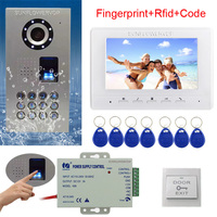 Rfid Keyboard Video Intercom Fingerprint Home Video Door Phone IP65 Waterproof CCD Camera Color Monitor 7 Video Door Bell Kit