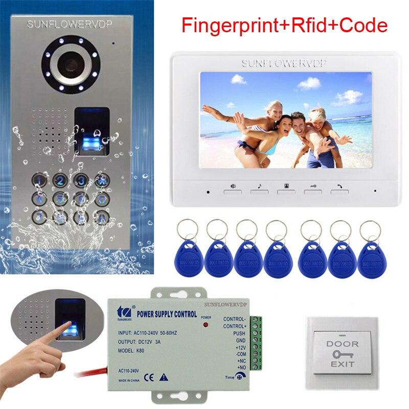 Tastiera Rfid Video Citofono Impronte Digitali Home Video Telefono Del Portello IP65 Impermeabile del CCD Della Macchina Fotografica a Colori del Monitor 7
