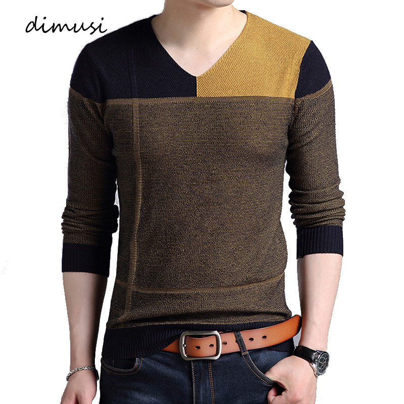 DIMUSI Autumn Mens Pullover Sweater Men Fashion Striped V-Neck Wool Pullover Sweater Men's Slim Knitted Pull Sweaters Clothing