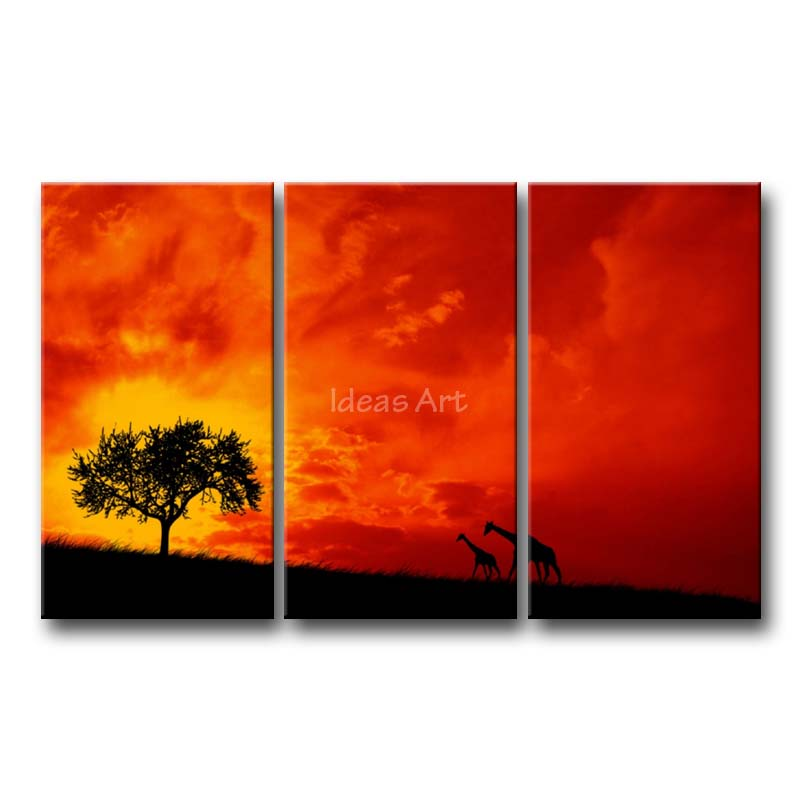3 piece wall art painting twilight in africa two giraffe walking to a tree amazing fire red sky print on canvas the picture in painting calligraphy from