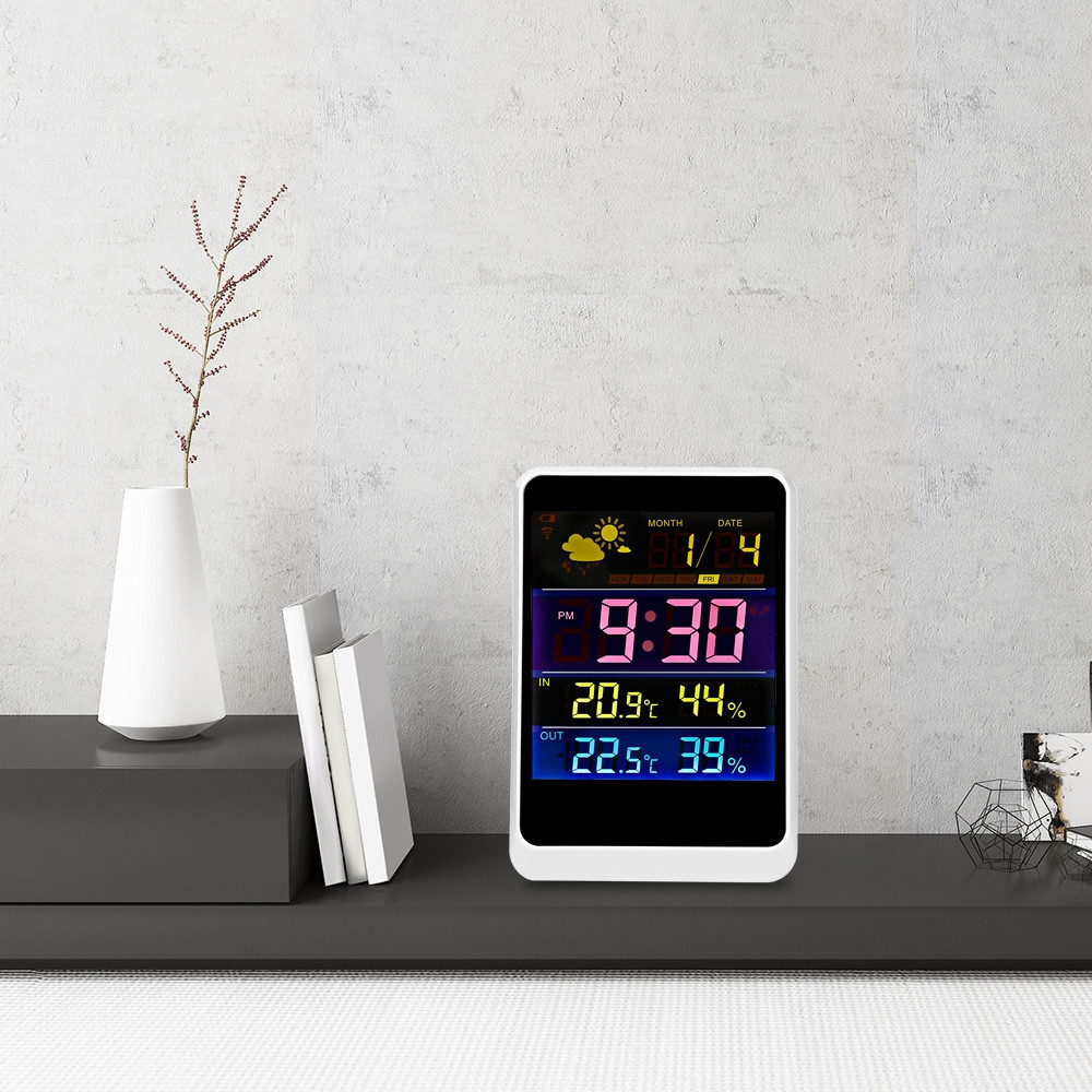 Digital Thermometer Hygrometer Indoor Outdoor Temperature Humidity Meter LCD Display Sensor Probe Weather Station Alarm Clock digital lcd thermometer projection weather station temperature calendar display dual alarm clock usb charging function