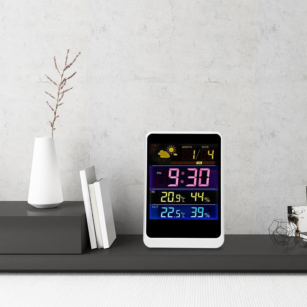 Digital Thermometer Hygrometer Indoor Outdoor Temperature Humidity Meter LCD Display Sensor Probe Weather Station Alarm Clock