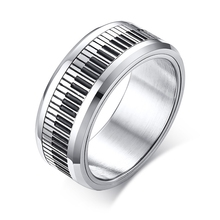 imixlot New Stainless Steel Mens Ring Fashion Original Design Black and White Keys to Turn the Men Jewelry anillos mujer