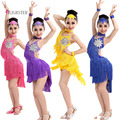 DJGRSTER Hot Sale New 2017 Girls Children Salsa Performance Dresses Rainbow Sequin Fringe Latin Dance Dresses children For Sale