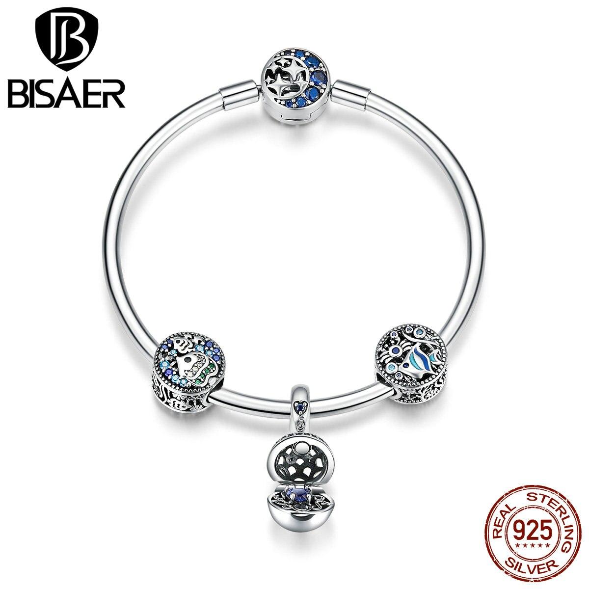 BISAER 925 Sterling Silver Blue Ocean Tropical Fish Moon Star Women Bracelets Femme Bangles Sterling Silver