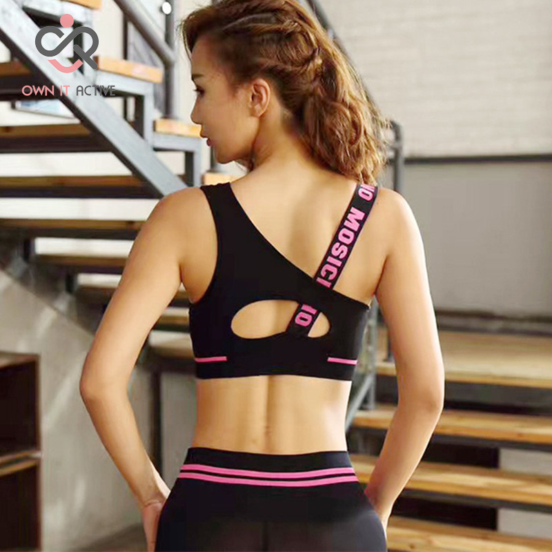 New Letter Cut Out Sports Bra Women Fitness Yoga Push up Gym Padded Sports Top Athletic Sexy Workout Running Clothing P165 in Sports Bras from Sports Entertainment
