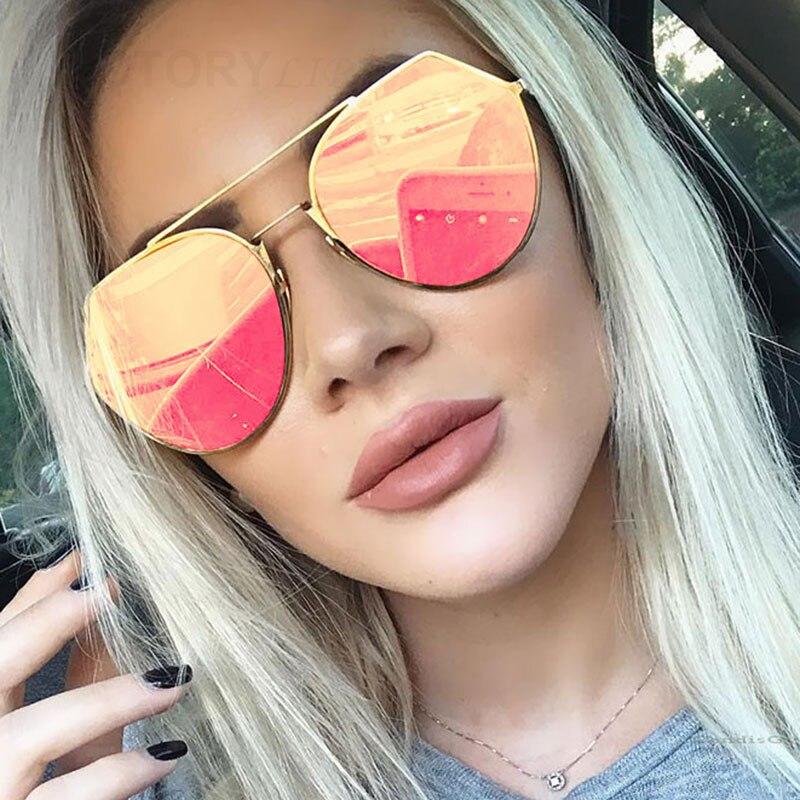 VictoryLip 2017 New Mode Unique lunettes de Soleil Femmes Marque Designer  UV400 Miroir Soleil Lunettes Mâle Femelle En Métal Cadre 60027bacd82e