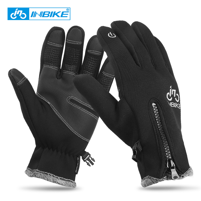 INBIKE Mens Cycling Gloves Ski Gloves Warm Windproof Bike Motorcycle Riding Winter Gloves Touch Screen PU Long Finger Gloves