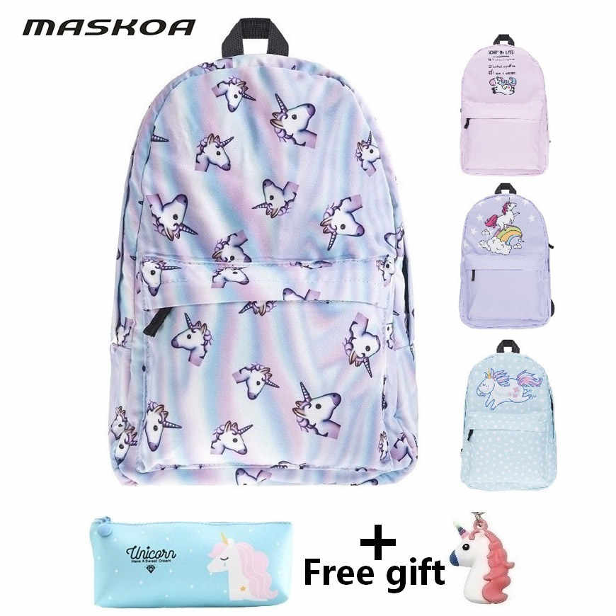bags for women 2019 student school bags Unicorn travel backpacks casual crossbody bags for women girl lady pencil case with gift