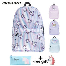 bags for women 2019 student school bags Unicorn travel backpacks casual crossbody bags for women girl lady pencil case with gift(China)