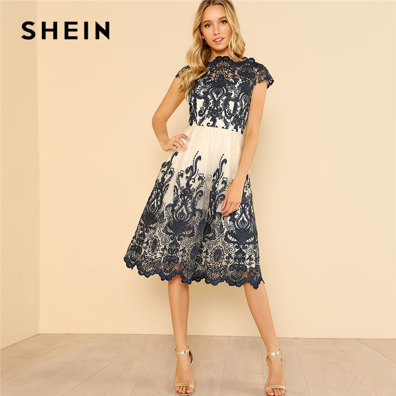 SHEIN Fit And Flare Embroidered Mesh Dress Women Boat Neck Cap Sleeve High Waist Party Dress 2018 Elegant Going Out Dress