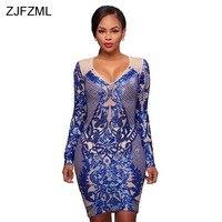 ZJFZML Women Sparkle Sequin Dresses Evening Party Wear Long Sleeve Bodycon Dress Sexy Female Vintage Deep