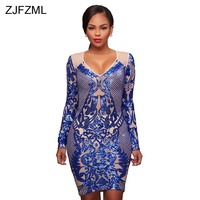 ZJFZML Women Sparkle Sequin Dresses Evening Party Wear Long Sleeve Bodycon Dress Sexy Female Vintage Deep