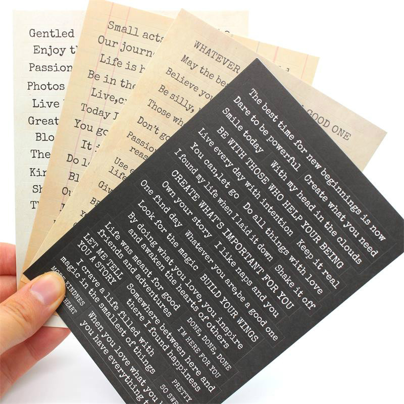 YPP CRAFT 4pcs Words Stickers For Scrapbooking DIY Projects/Photo Album/Card Making Crafts