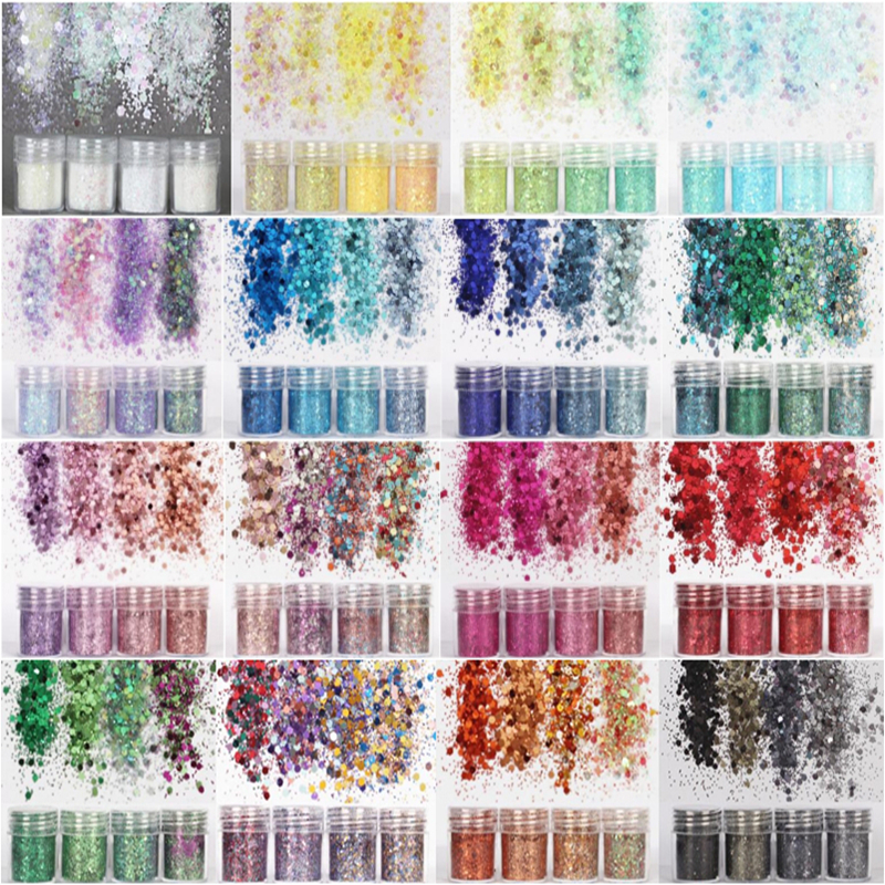 4 Bottles Dreamlike Glitter Powder Stuff For Resin DIY Jewelry Filling Nail Art Decoration 1mm Bling Sequins Craft Accessories
