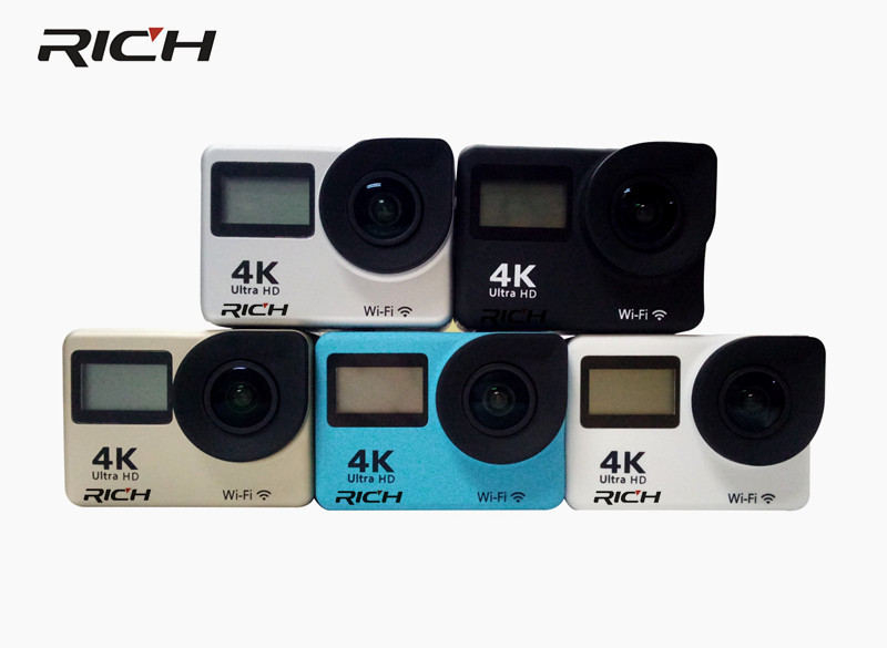 DHL 5pcs RICH T350 ultra FHD 4K Action Camera WiFi 1080P 60fps 2.0 LCD 170D Full HD 30M Waterproof Video Action DV Sports Camera f88 action camera black