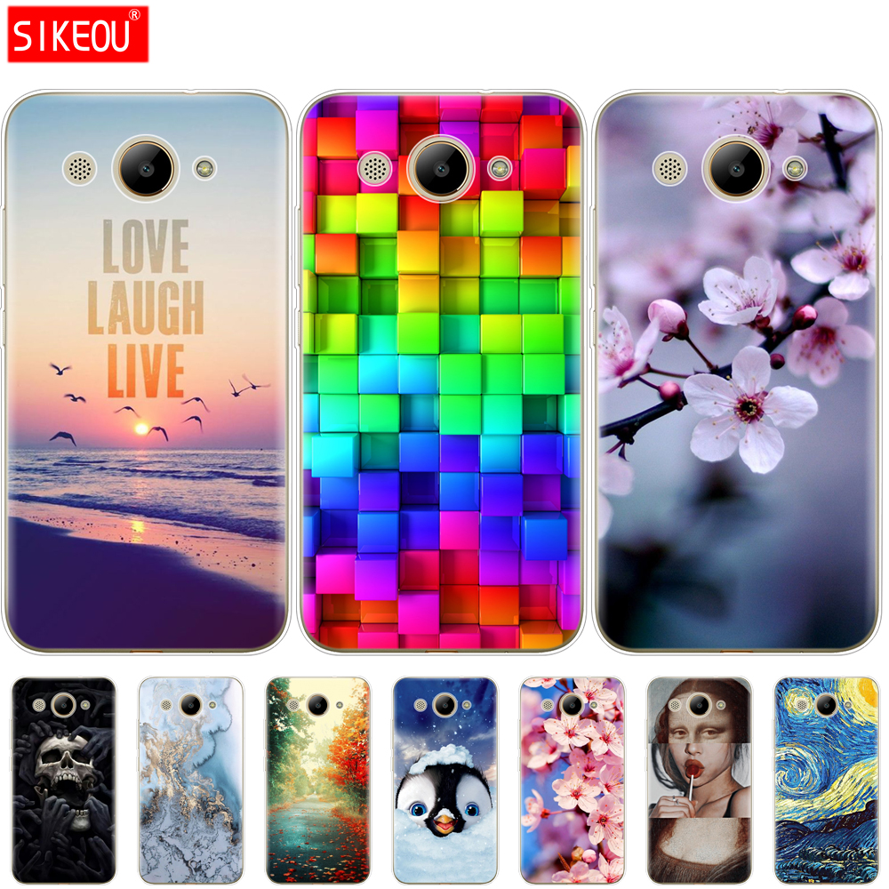 Image 3 - For Huawei Y3 2017 Case Soft Silicone Huawei Y3 2017 Transparent Back Cover 5.0'' TPU Y 3 2017 Phone Cases Cat flower-in Fitted Cases from Cellphones & Telecommunications