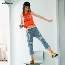 Blue jeans ripped fashion seven points womens new summer free shipping rice cotton torn women