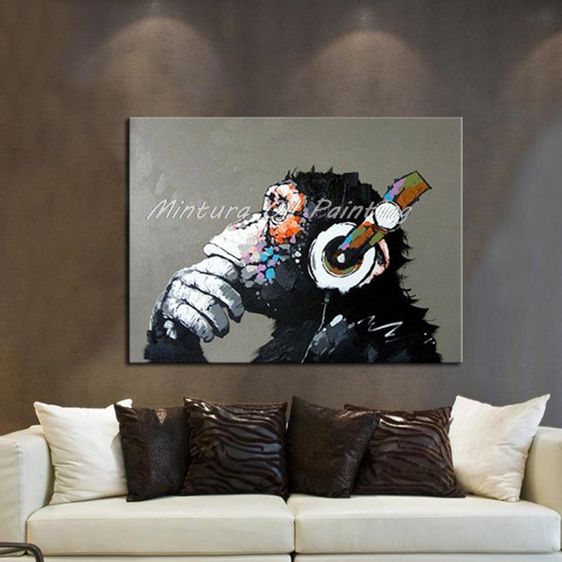 Hand Painted Canvas Oil Paintings Gorilla Enjoying