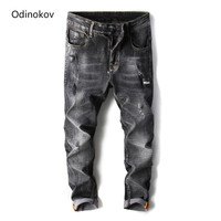 Brand Hot Sale Mens Black Grey Blue Casual Jeans Slim Feet Straight High Elasticity Refular Fit