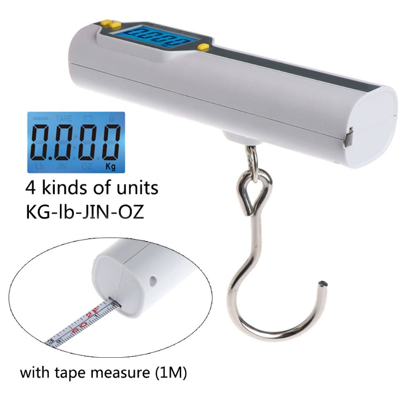 LCD Digital Luggage Scale Portable 50Kg/10g Mini Pocket Scale Electronic Travel Bag Hanging Fishing Hook Scale with Tape Ruler image