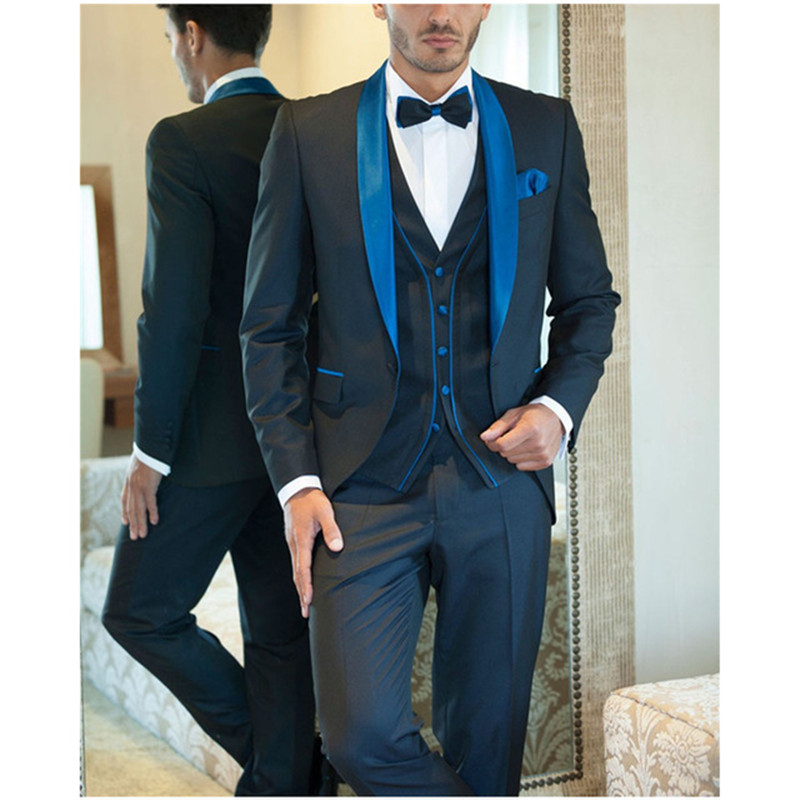 2017 Italian Mens Suits Blue Wedding Tuxedos Jacket+Pants+Vest Groom Tuxedos Men's Wedding Suit costume homme Prom Party Suits