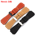 Convex mouth leather strap to replace Bell Ross watchbands Male BR01 34*24mm black red brown High-quality Durable bracelet