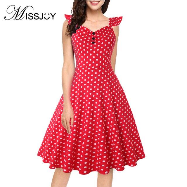 418b4315be753 MISSJOY Vintage dress women v neck short sleeve Button polka dot Zipper  fashion temperament plus size
