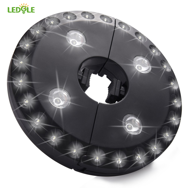 LEDGLE 28LED 200 Lumens Outdoor Cordless Patio Umbrella Pole Light Garden Portable Camping Tent Lamp Emergency Light With Hooks