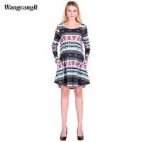 Wangcangli 2017 sonbahar ve kış dış ticaret baskı kadın sıcak tarzı elk kar Noel ağacı O-Boyun elbise artı boyutu S-XL