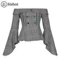 Sishot Women Casula Shirts 2017 Autumn Black Plaids Ruffle Slash Neck Long Sleeve Backless Patchwork Slim