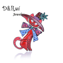 Witch Cat Brooches For Men And Women Cartoon Animals With Hats Brooch Fashion Clothes Pins Zinc Alloy Enamel Jewelry Accessories