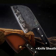XYj Full Tang Butcher Knife Chef Chinese Kitchen Knives Handmade Forged High Carbon Clad Steel Cleaver Gift Knife Cover Sheath