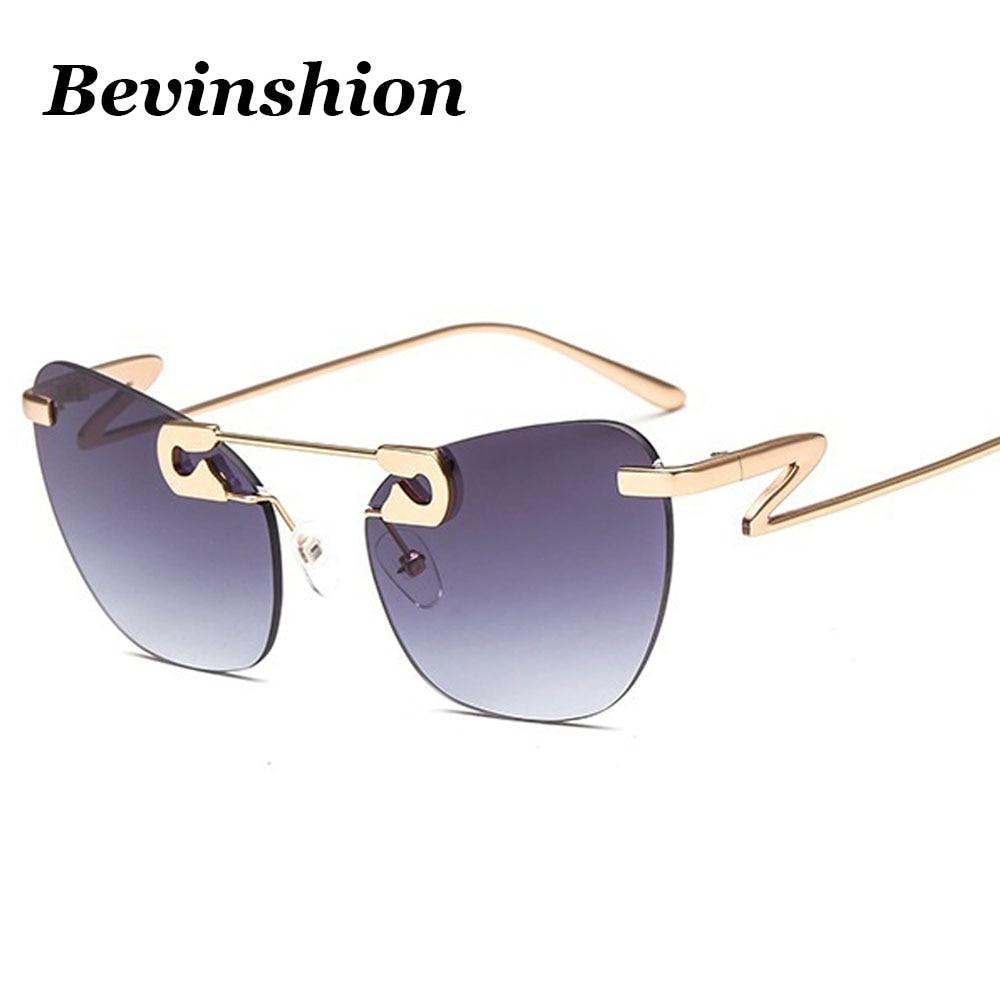 New Arrival 2018 Rimless Cat Eye Sunglasses Women Brand
