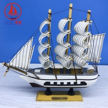 LUCKK 20CM Handmade Wooden Model Ship Home Interior Decoration Wood Crafts Room Accessories Nautical SailBoat Ornaments Gift
