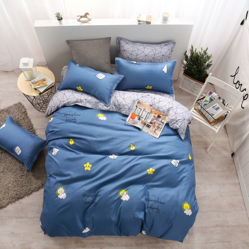 Fashion Simple White Heart-Shaped Prints Bedding Bedding Super Comfortable Soft Home Textiles Supplies 4Pcs Quilt+Bed+Pillowcase